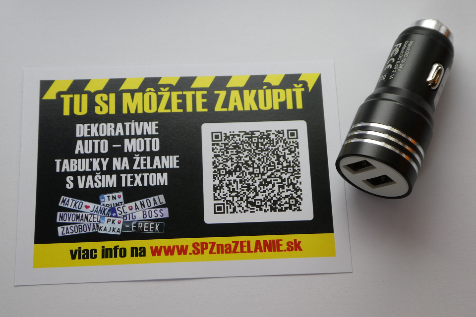 AE01: auto nabíjačka 2x USB čierna