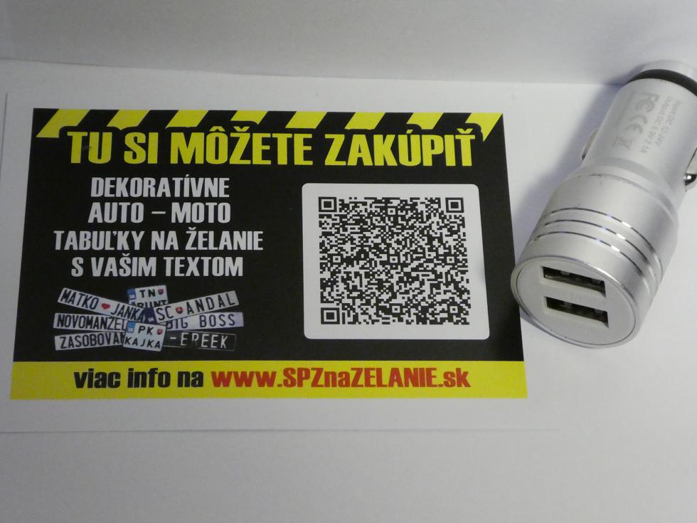 AE02: auto nabíjačka 2x USB strieborná