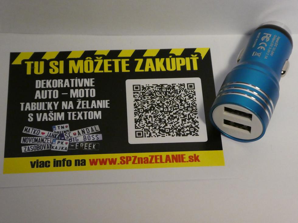 AE04: auto nabíjačka 2x USB modrá