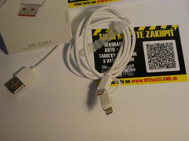 AE06: nabíjací kábel 2v1 Android + iPhone 1m biely