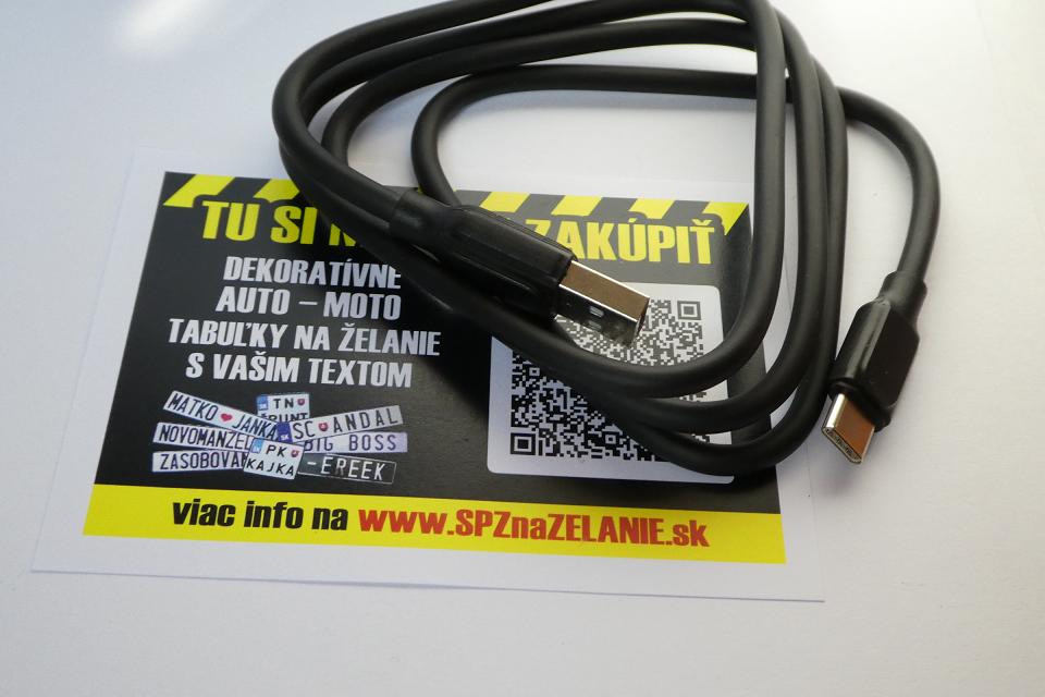 AE11: nabíjací kábel Android micro USB-C 1m čierny